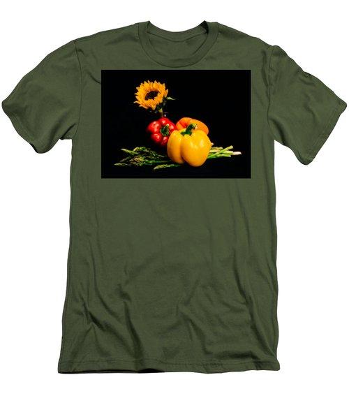 Still Life Peppers Asparagus Sunflower Men's T-Shirt (Slim Fit) by Jon Woodhams