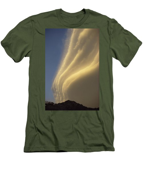 Sunset On Storm Clouds Near Mt Cook Men's T-Shirt (Slim Fit) by Ian Whitehouse