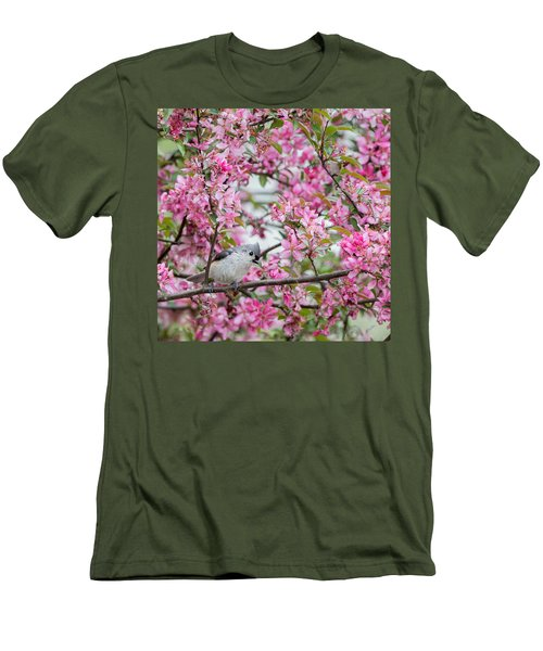 Tufted Titmouse In A Pear Tree Square Men's T-Shirt (Slim Fit) by Bill Wakeley