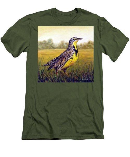 Western Meadowlark Afternoon Men's T-Shirt (Slim Fit) by Tom Chapman