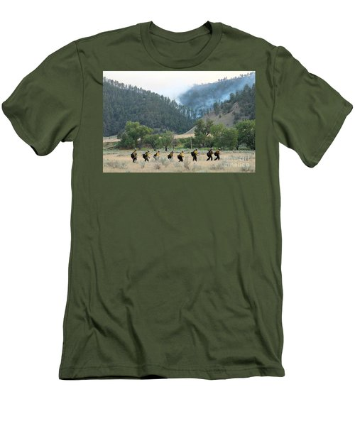 Men's T-Shirt (Slim Fit) featuring the photograph Wyoming Hot Shots Walk To Their Assignment by Bill Gabbert