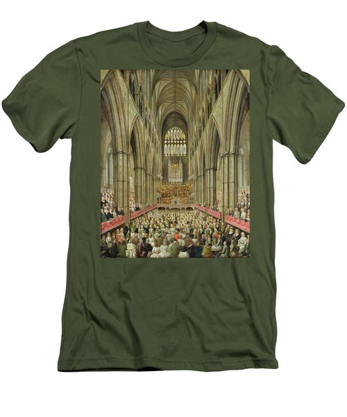 An Interior View Of Westminster Abbey On The Commemoration Of Handel's Centenary Men's T-Shirt (Slim Fit) by Edward Edwards