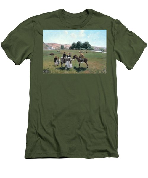 Donkey Ride Men's T-Shirt (Slim Fit) by Camille Pissarro