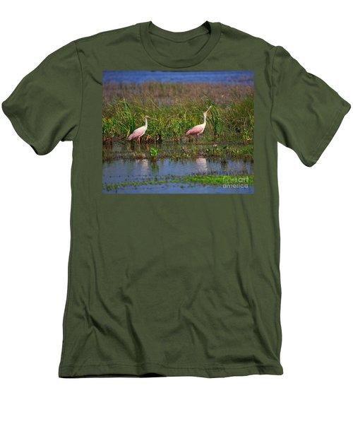 Roseate Spoonbills Men's T-Shirt (Slim Fit) by Louise Heusinkveld