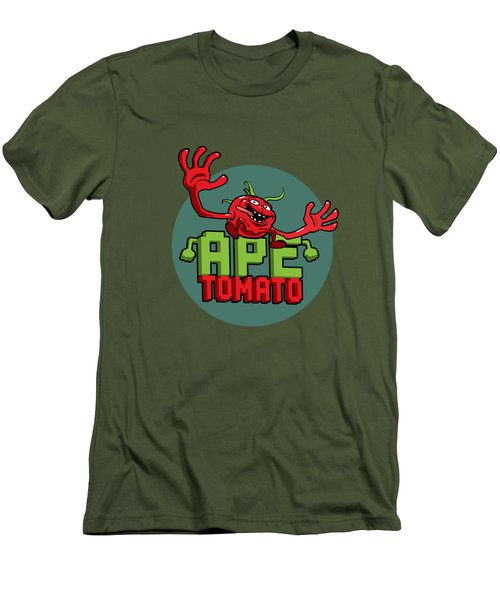 Ape Tomato Grey Green Men's T-Shirt (Slim Fit) by Nicolas Palmer