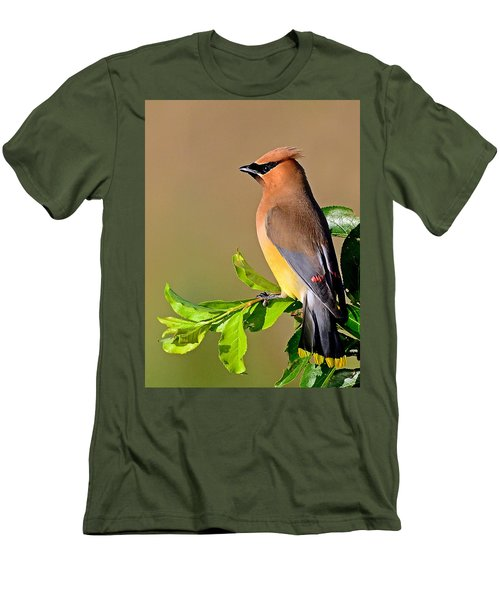 Men's T-Shirt (Slim Fit) featuring the photograph Cedar Waxwing by Rodney Campbell