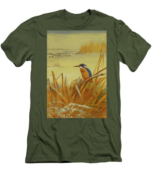 A Kingfisher Amongst Reeds In Winter Men's T-Shirt (Slim Fit) by Archibald Thorburn
