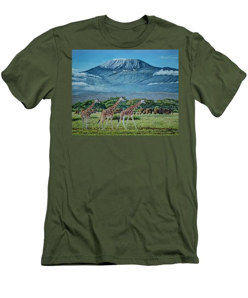 African Giants At Mount Kilimanjaro, Original Oil Painting 48x60 In On Gallery Canvas Men's T-Shirt (Slim Fit) by Manuel Lopez