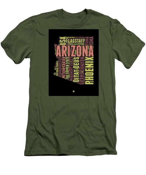 Arizona Word Cloud Map 1 Men's T-Shirt (Slim Fit) by Naxart Studio
