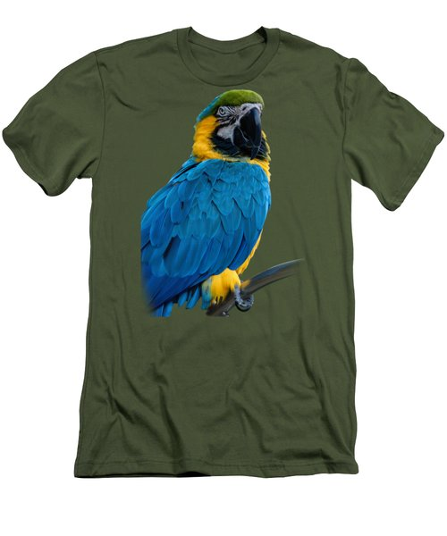 Blue Yellow Macaw No.2 Men's T-Shirt (Slim Fit) by Mark Myhaver