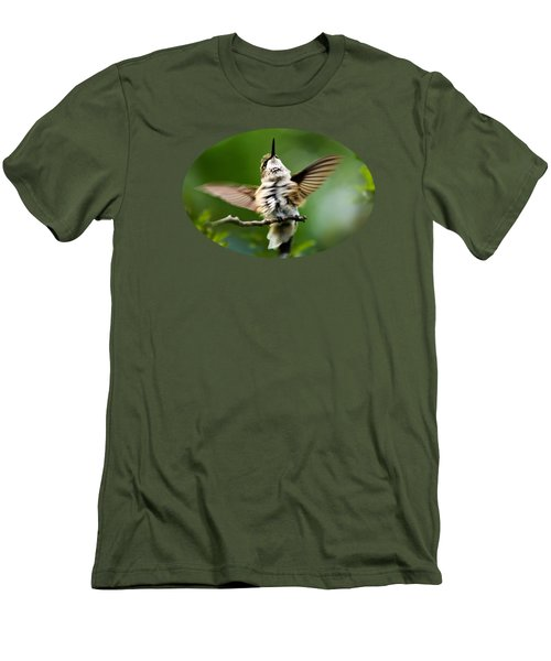 Hummingbird Happy Dance Men's T-Shirt (Slim Fit) by Christina Rollo