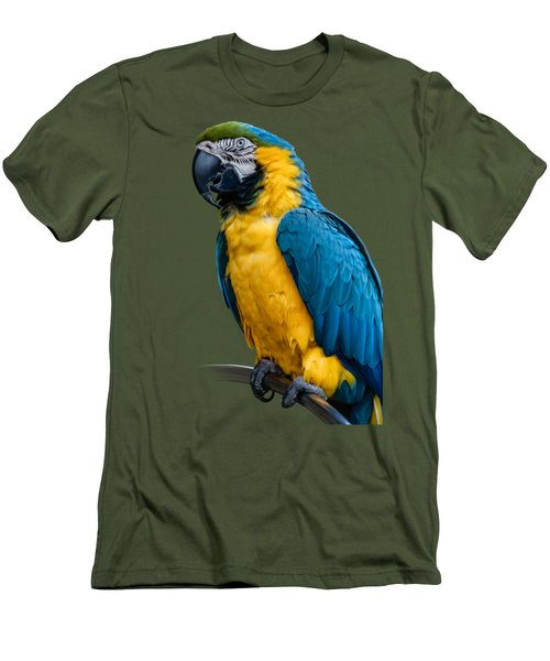 Blue Yellow Macaw No.1 Men's T-Shirt (Slim Fit) by Mark Myhaver