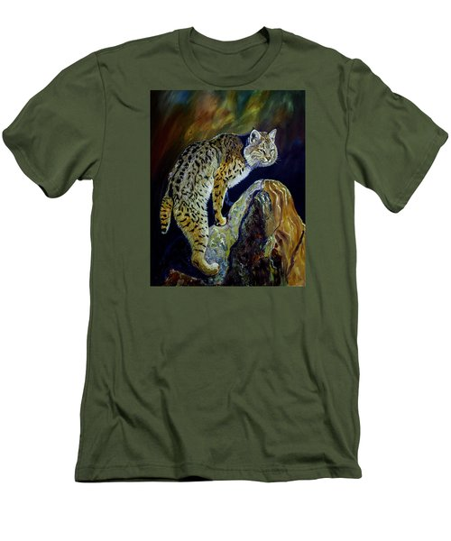 Bobcat At Sunset Original Oil Painting 16x20x1 Inch On Gallery Canvas Men's T-Shirt (Slim Fit) by Manuel Lopez