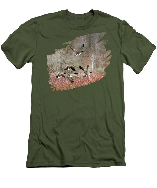 Canada Geese In Flight Men's T-Shirt (Slim Fit) by Christina Rollo