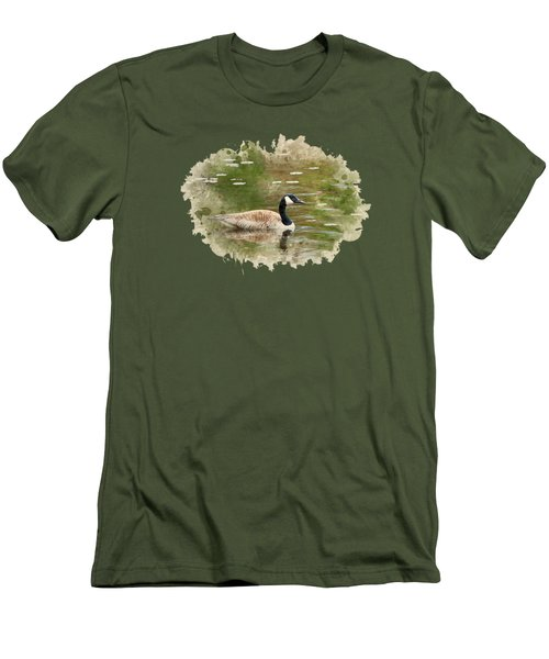 Canada Goose Watercolor Art Men's T-Shirt (Slim Fit) by Christina Rollo