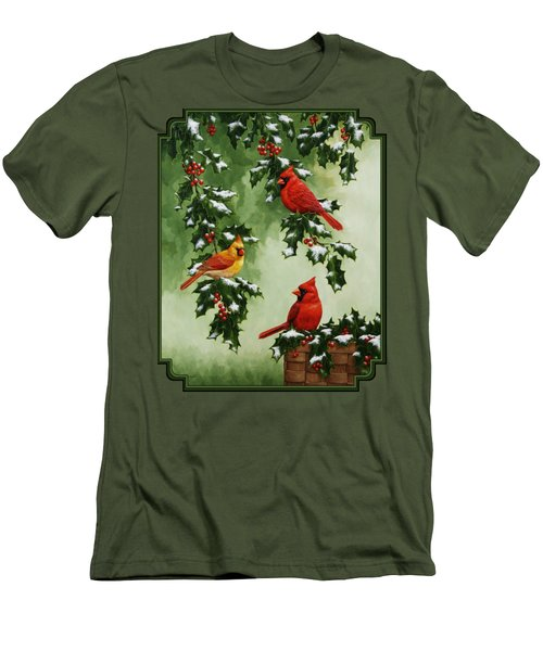 Cardinals And Holly - Version With Snow Men's T-Shirt (Slim Fit) by Crista Forest