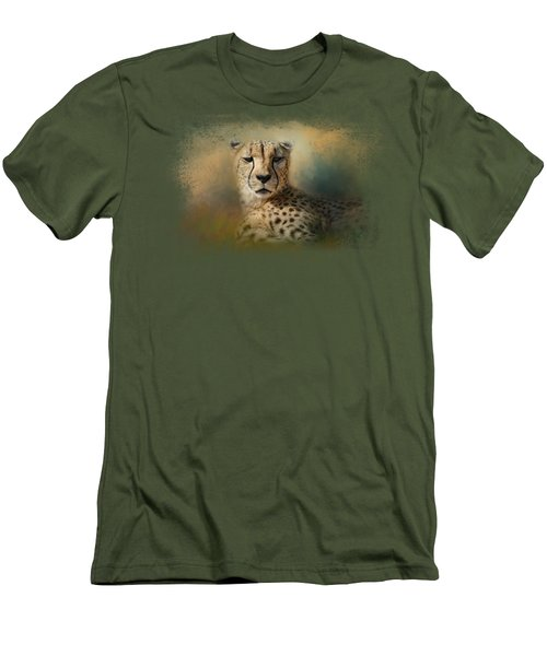 Cheetah Enjoying A Summer Day Men's T-Shirt (Slim Fit) by Jai Johnson