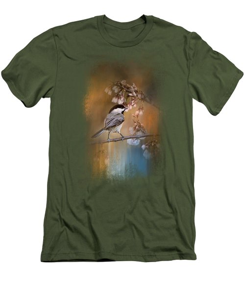 Chickadee In The Garden Men's T-Shirt (Slim Fit) by Jai Johnson