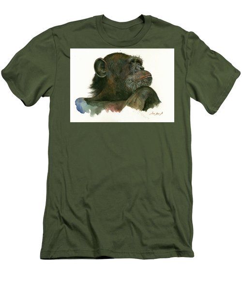Chimp Portrait Men's T-Shirt (Slim Fit) by Juan Bosco