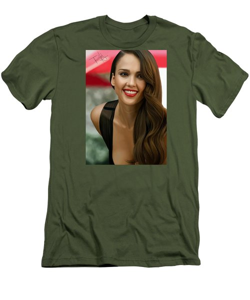 Digital Painting Of Jessica Alba Men's T-Shirt (Slim Fit) by Frohlich Regian