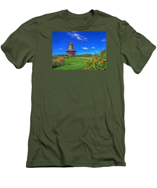 Men's T-Shirt (Slim Fit) featuring the photograph Dutch Windmill by Rodney Campbell