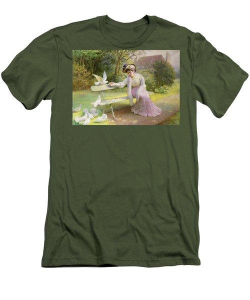 Feeding The Doves  Men's T-Shirt (Slim Fit) by Edmond Alphonse Defonte
