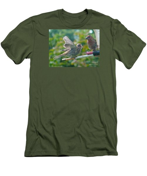 Female And Male Crossbills    August  Indiana Men's T-Shirt (Slim Fit) by Rory Cubel