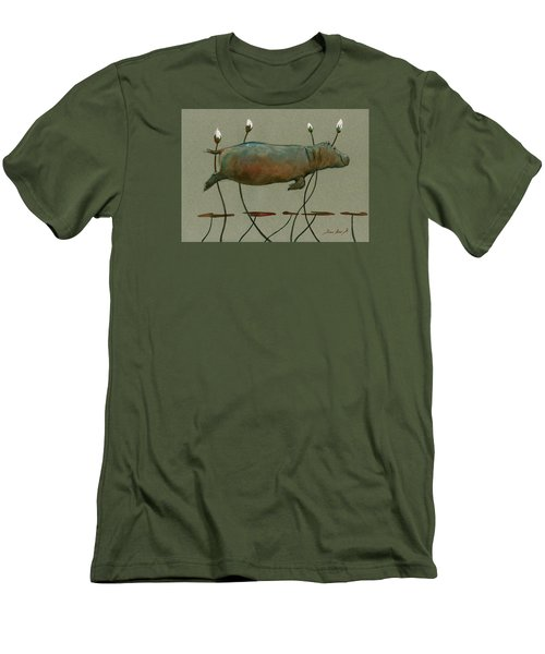 Happy Hippo Swimming Men's T-Shirt (Slim Fit) by Juan  Bosco