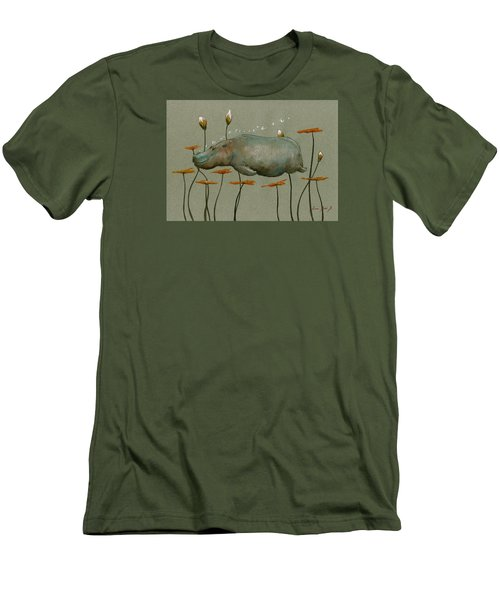 Hippo Underwater Men's T-Shirt (Slim Fit) by Juan  Bosco