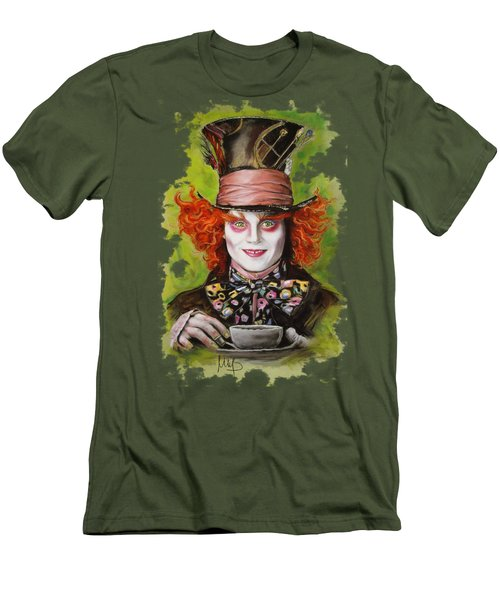 Johnny Depp As Mad Hatter Men's T-Shirt (Slim Fit) by Melanie D