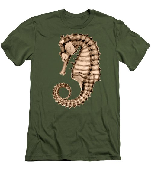 Northern Seahorse X-ray On Sepia Men's T-Shirt (Slim Fit) by George Green