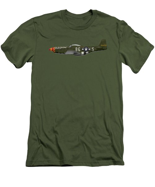 Old Crow - P-51 D Mustang Men's T-Shirt (Slim Fit) by Ed Jackson