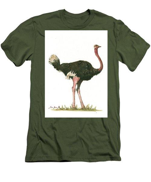 Ostrich Bird Men's T-Shirt (Slim Fit) by Juan Bosco