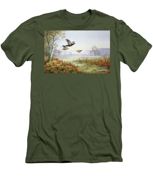 Pheasants In Flight  Men's T-Shirt (Slim Fit) by Carl Donner