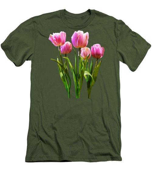 Pink Pastel Tulips Men's T-Shirt (Slim Fit) by Susan Savad