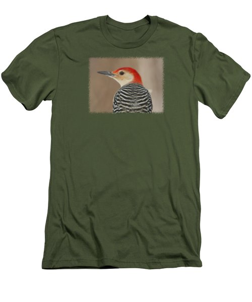 Red Bellied Woodpecker Glamour Portrait Men's T-Shirt (Slim Fit) by John Harmon