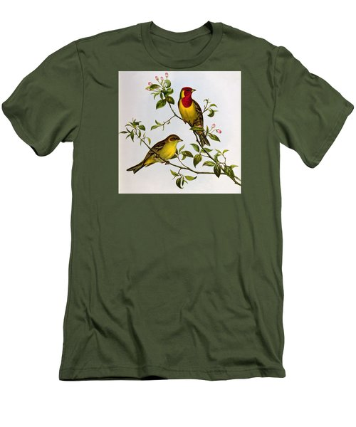 Red Headed Bunting Men's T-Shirt (Slim Fit) by John Gould