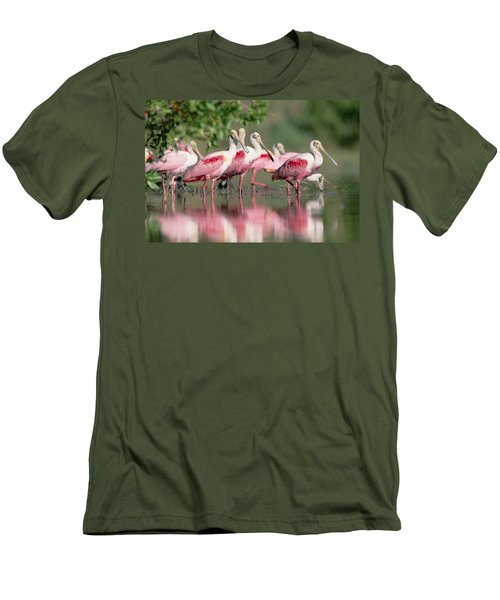 Roseate Spoonbill Flock Wading In Pond Men's T-Shirt (Slim Fit) by Tim Fitzharris