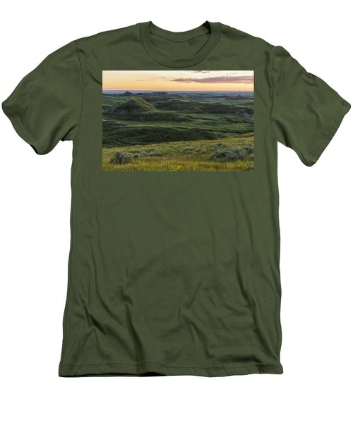 Sunset Over Killdeer Badlands Men's T-Shirt (Slim Fit) by Robert Postma