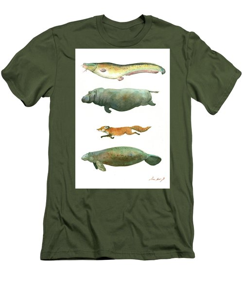 Swimming Animals Men's T-Shirt (Slim Fit) by Juan Bosco