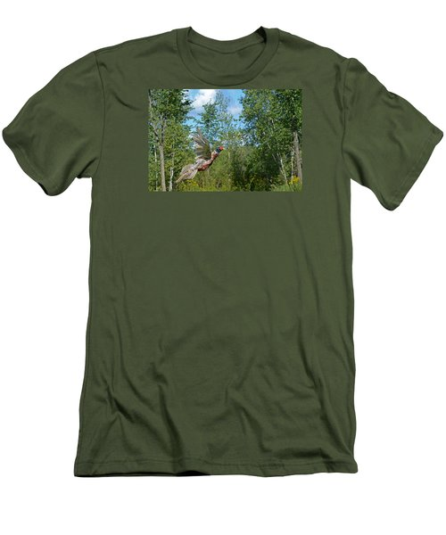 The Ring-necked Pheasant In Take-off Flight Men's T-Shirt (Slim Fit) by Asbed Iskedjian