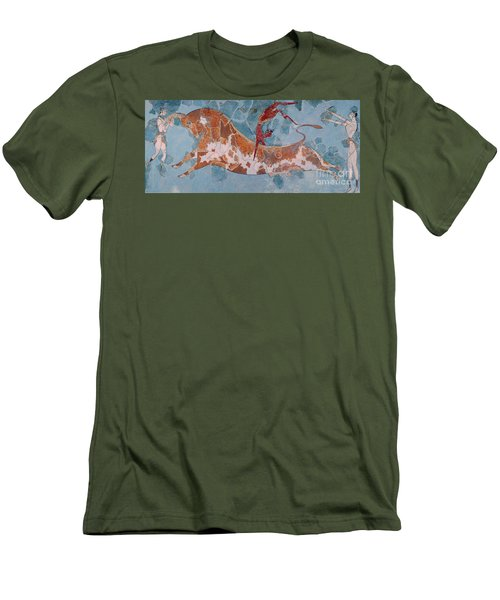 The Toreador Fresco, Knossos Palace, Crete Men's T-Shirt (Slim Fit) by Greek School