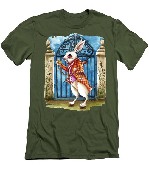 The White Rabbit Late Again Men's T-Shirt (Slim Fit) by Lucia Stewart