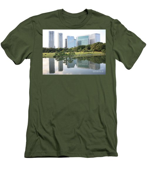 Tokyo Skyline Reflection Men's T-Shirt (Slim Fit) by Carol Groenen