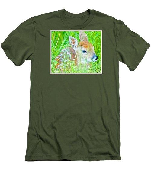 Men's T-Shirt (Slim Fit) featuring the photograph Whitetailed Deer Fawn by A Gurmankin