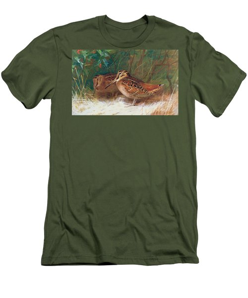 Woodcock In The Undergrowth Men's T-Shirt (Slim Fit) by Archibald Thorburn