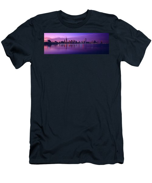 Buildings At The Waterfront Lit Men's T-Shirt (Slim Fit) by Panoramic Images