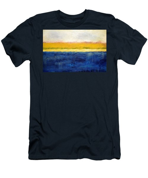 Abstract Dunes With Blue And Gold Men's T-Shirt (Slim Fit) by Michelle Calkins