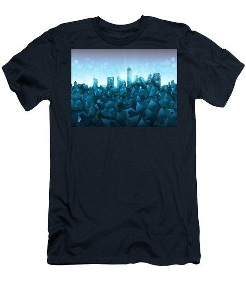 Austin Skyline Geometry 3 Men's T-Shirt (Slim Fit) by Bekim Art