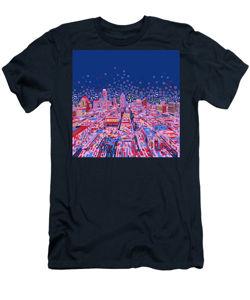 Austin Texas Abstract Panorama Men's T-Shirt (Slim Fit) by Bekim Art